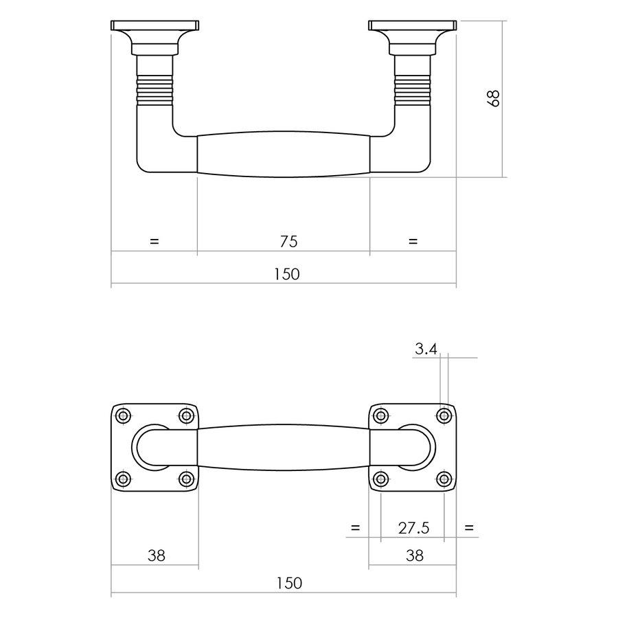 Intersteel Greep Ton Basic 150 mm op vierkant rozet nikkel/ebbenhout