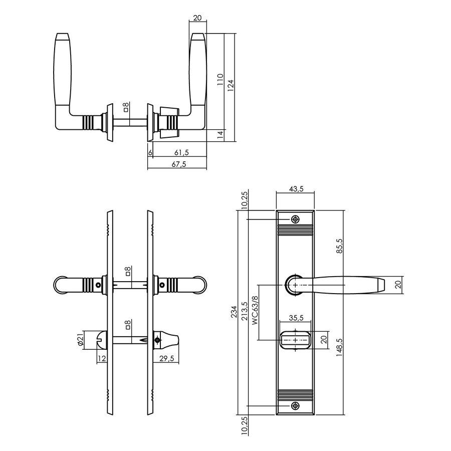 Intersteel Deurkruk Ton Basic met schild WC63/8mm nikkel mat