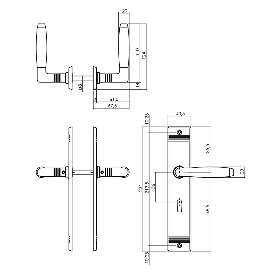 Intersteel Deurkruk Ton Basic met schild sleutelgat 56mm nikkel mat