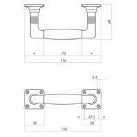Intersteel Greep Ton Basic 150 mm op vierkant rozet nikkel mat/ebbenhout