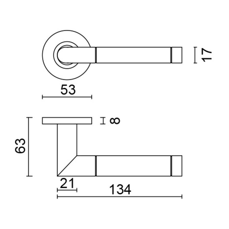 RVS deurklinken Oval I Shape met sleutelplaatjes