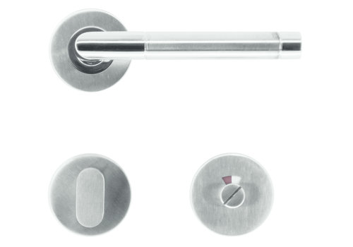 """Stainless steel door handles Oval """"I Shape"""" with WC"""