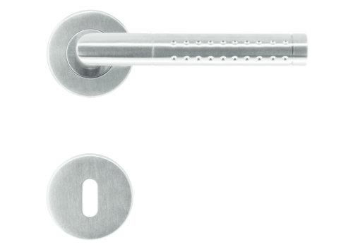 RVS deurklinken point shape met sleutelplaatjes