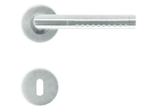 Stainless steel door handles point shape with key plates