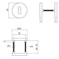 2 Sleutelplaatjes met sleutelgat ø50x7 mm aluminium zwart