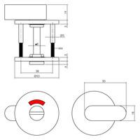 Intersteel WC-sluiting 8mm rond verdekt met design olive rvs gepolijst