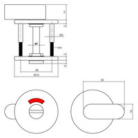 Intersteel Rozet toilet-/badkamersluiting rond plat rvs geborsteld