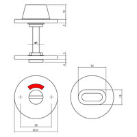 Intersteel WC-sluiting 8mm rond plat verdekt rvs