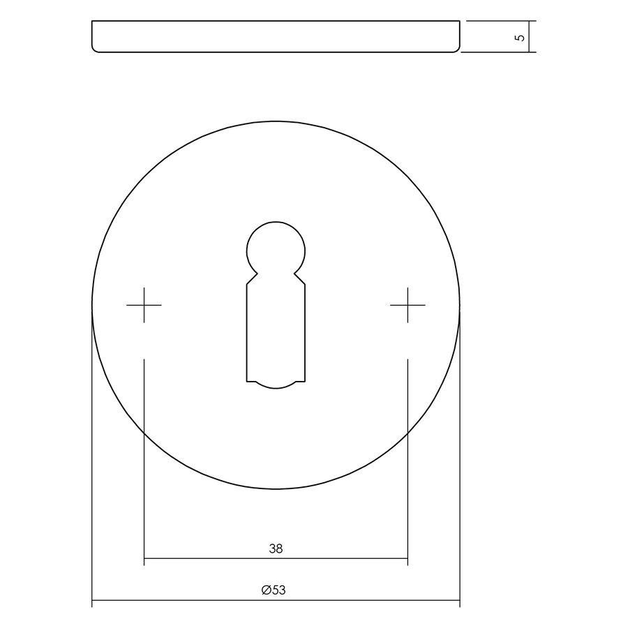 1 Sleutelplaatje met sleutelgat rond plat verdekt 53x5mm rvs geborsteld