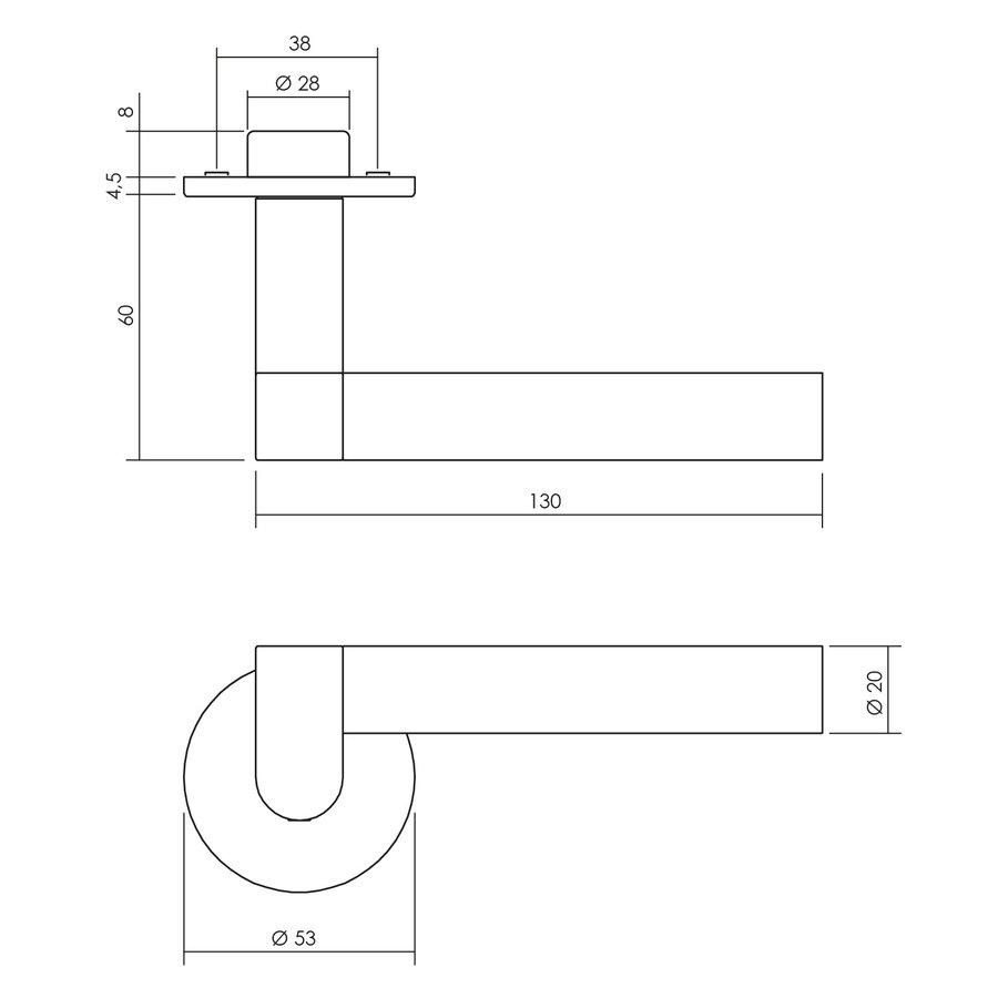 Intersteel Deurkruk Erik Munnikhof Dock Solid met rozet rvs geborsteld