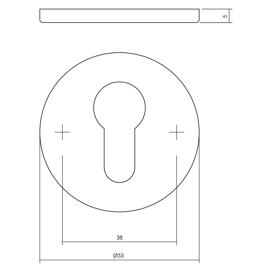 1 PC-plaatje profielcilindergat rond rvs geborsteld mat zwart