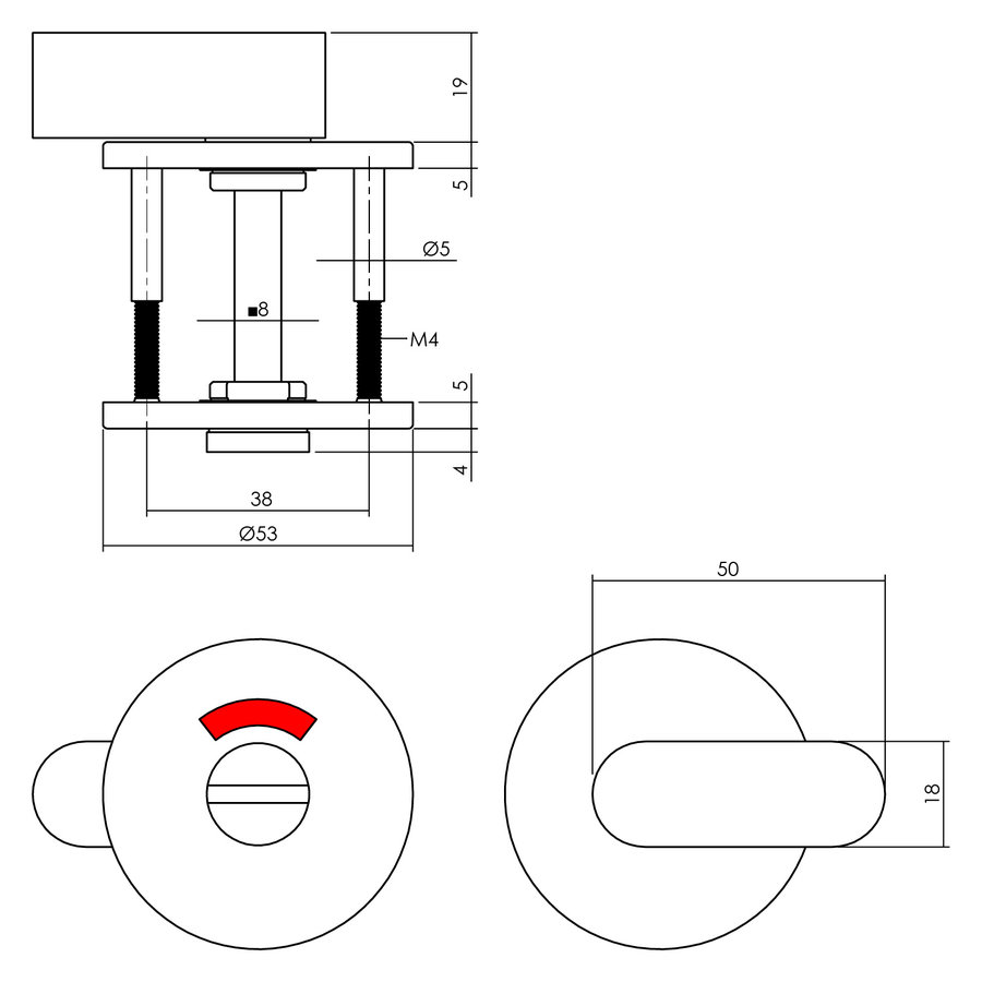 Intersteel Rozet toilet-/badkamersluiting rond rvs geborsteld mat zwart