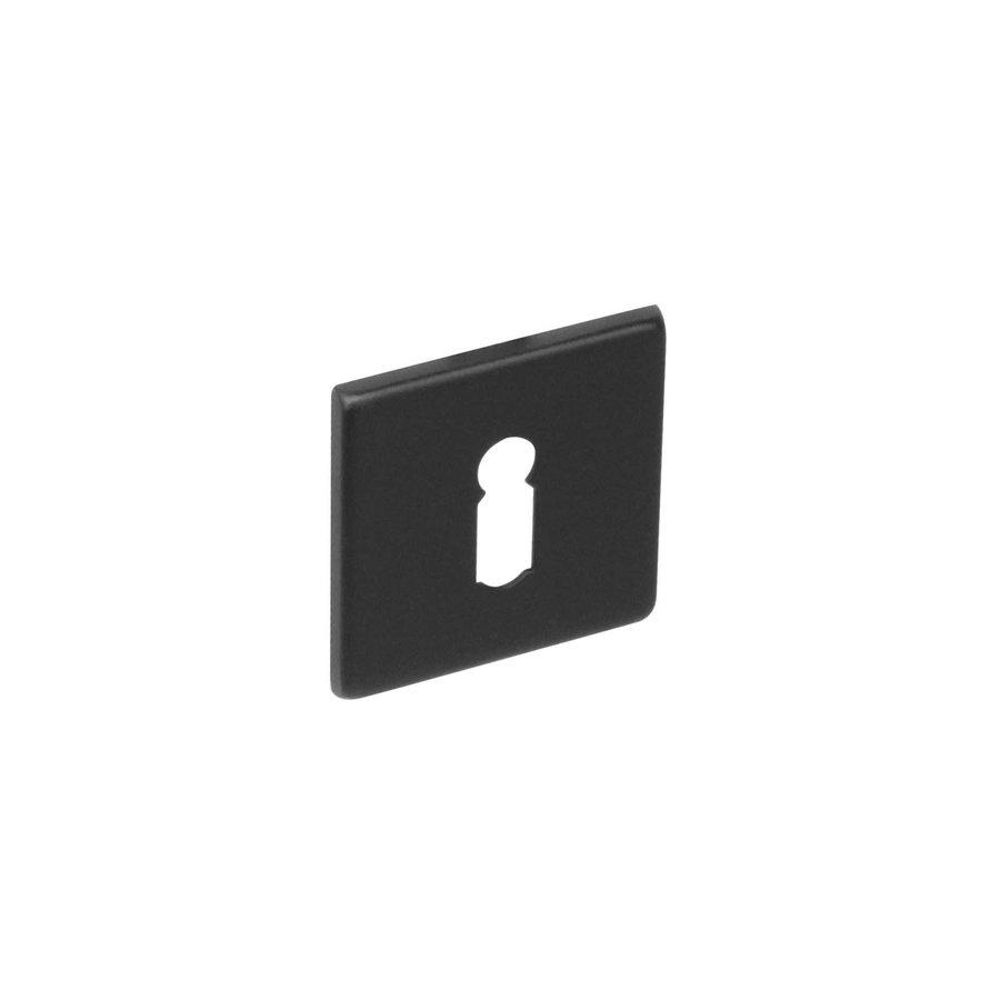1 Sleutelplaatje plat verdekt sleutelgat vierkant RVS- mat zwart
