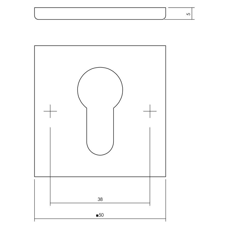 1 PZ-plaatje vierkant plat verdekt profielcilindergat RVS- mat zwart