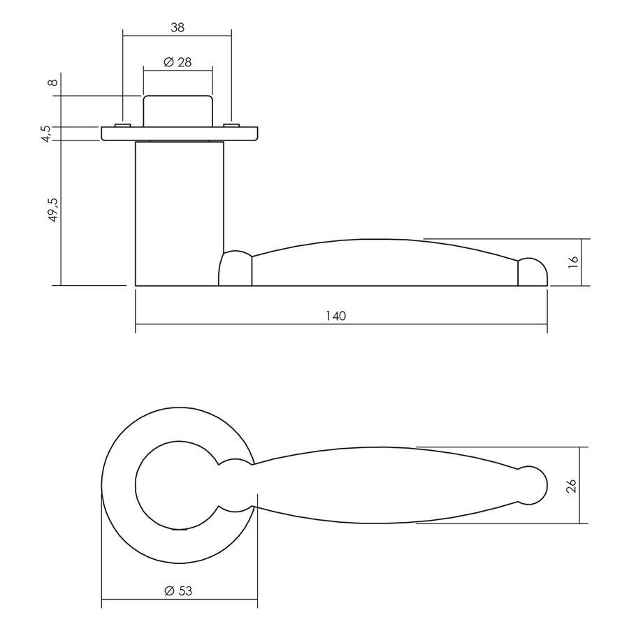 Intersteel Deurkruk Arjan Moors Sliced No.4 met rozet rvs gepolijst zonder sleutelplaatjes