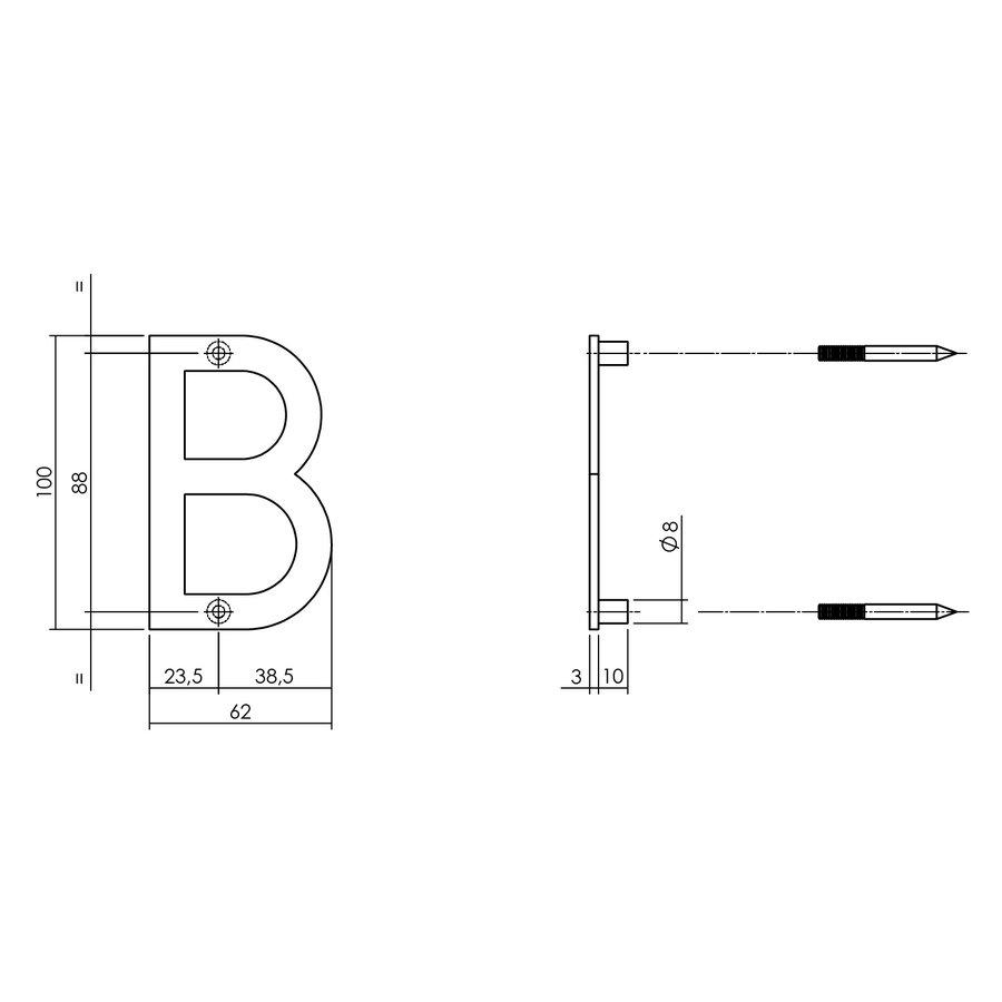 Zwarte intersteel huisletter B  met een hoogte van 100mm