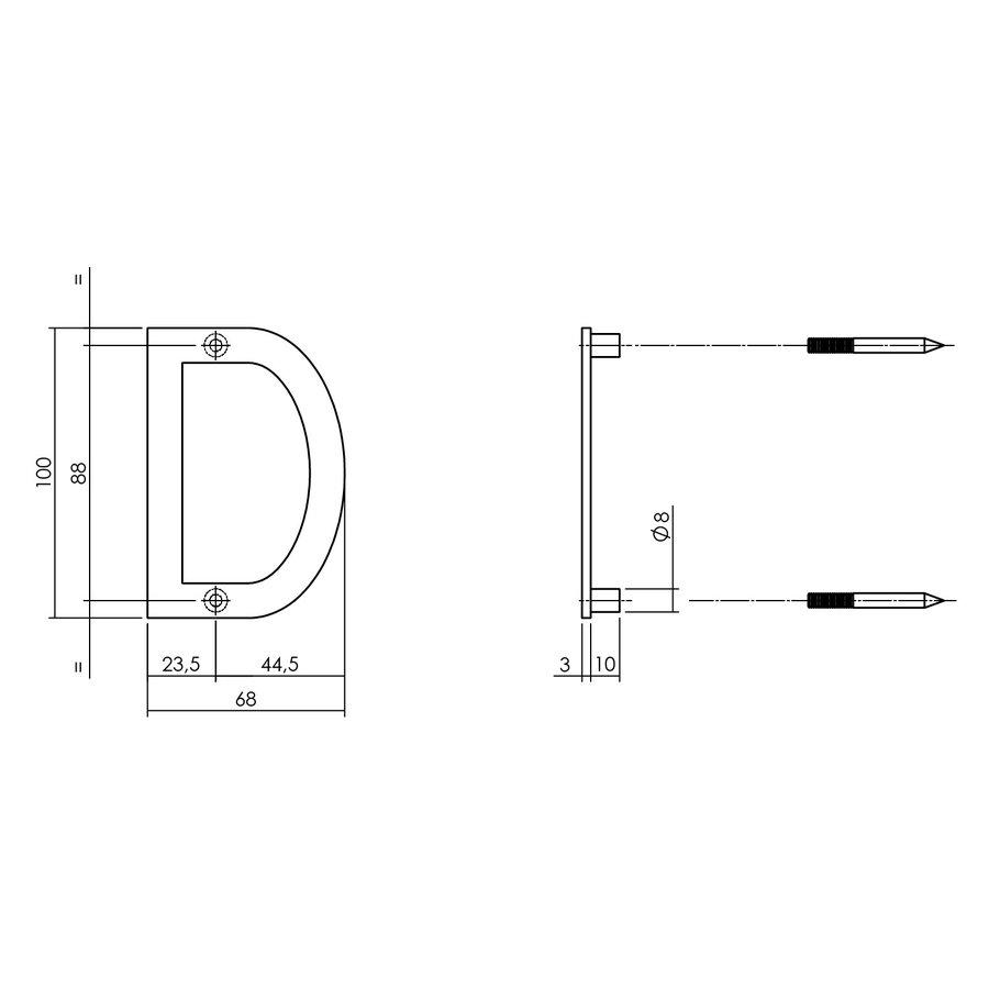 Intersteel Huisletter D 100 mm zwart