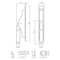 Intersteel Pomp-espagnolet Ton 400 met stangenset 2x 1250 mm chroom mat/ebbenhout