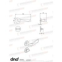 DnD deurklinken Luxury in Graphite PVD op ronde rozetten zonder sleutelplaatjes