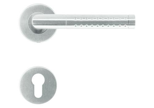 RVS deurklinken point shape met cilinderplaatjes