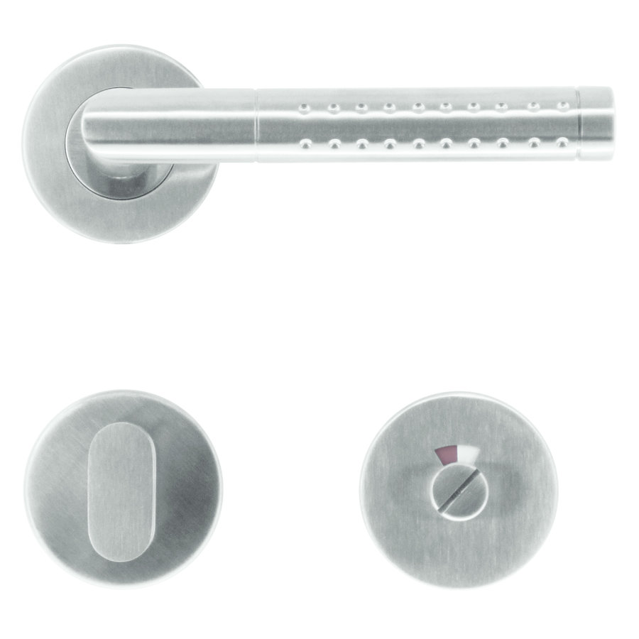 RVS deurklinken point shape met WC garnituur