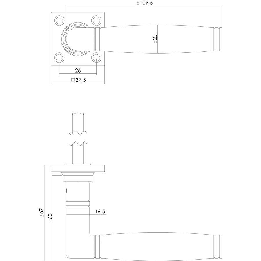 Intersteel Deurkruk Ton 222 met rozet 38x38x7mm messing getrommeld/ebbenhout