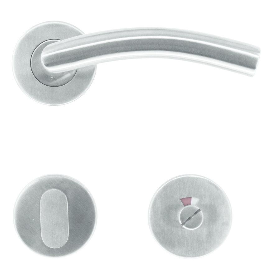 RVS deurklinken GI shape met WC garnituur