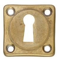 1 Rozet sleutelgat schroefgat vierkant messing getrommeld