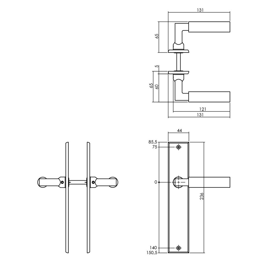 Intersteel Deurkruk Bau-stil met schild 236x44x6mm messing getrommeld