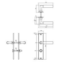 Intersteel Deurkruk Bau-stil met schild 236x44x6mm WC63/8mm messing getrommeld