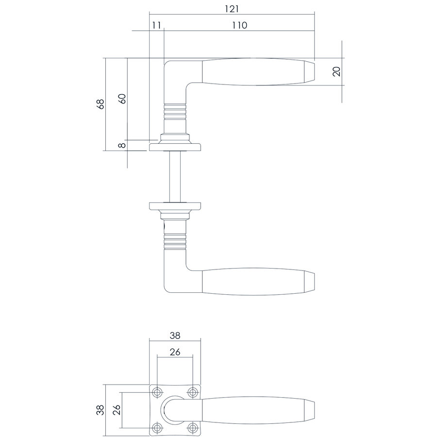 Intersteel Deurkruk Ton Palissander met vierkant rozet nikkel