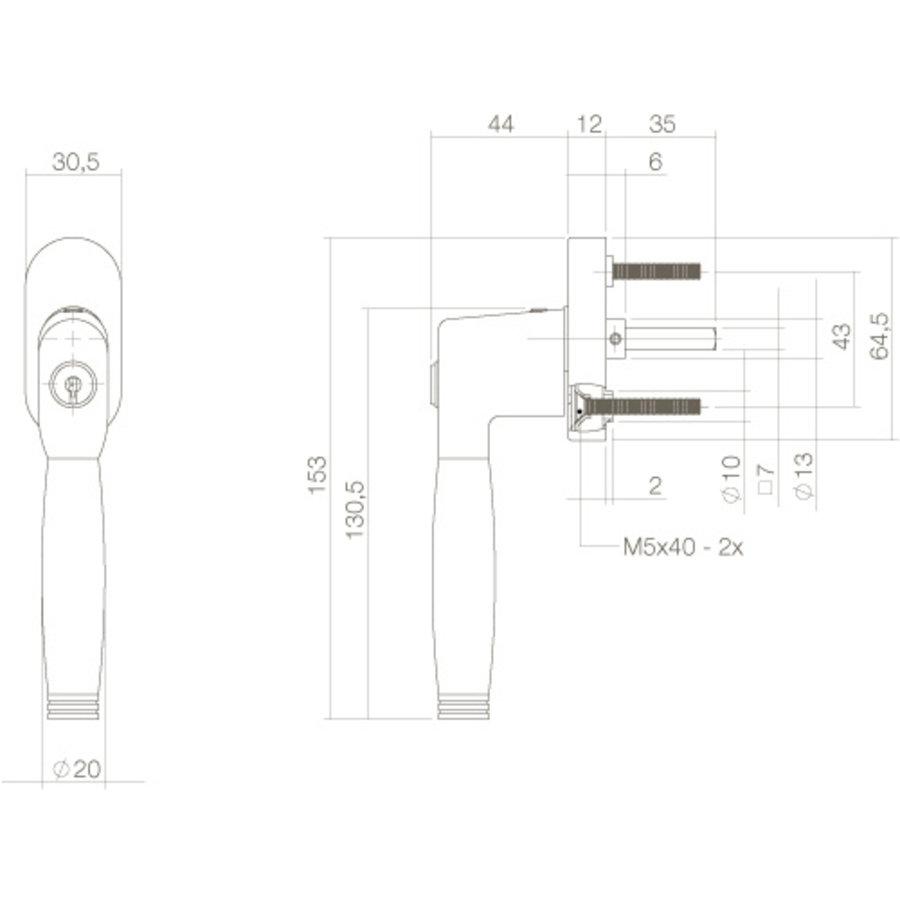 Intersteel Raamkruk Ton 222 afsluitbaar op ovaal rozet chroom/ebben hout