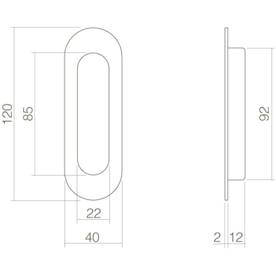 Intersteel Schuifdeurkom ovaal 120x40mm blind mat zwart
