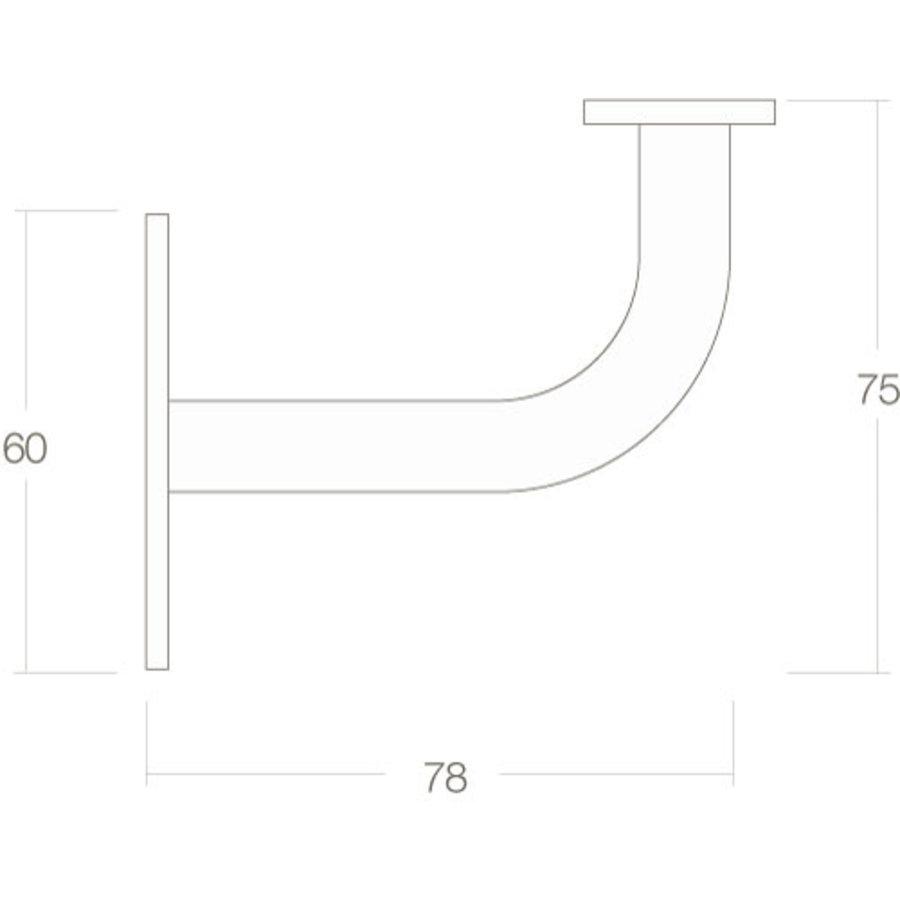 Intersteel Leuninghouder gebogen vierkant vlak zadel zwart