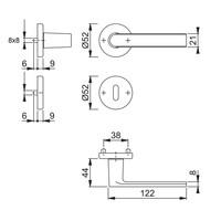 Hoppe deurklinken LOS ANGELES met ronde rozas (52x9mm) messing gesatineerd - Resista® zonder sleutelplaatjes
