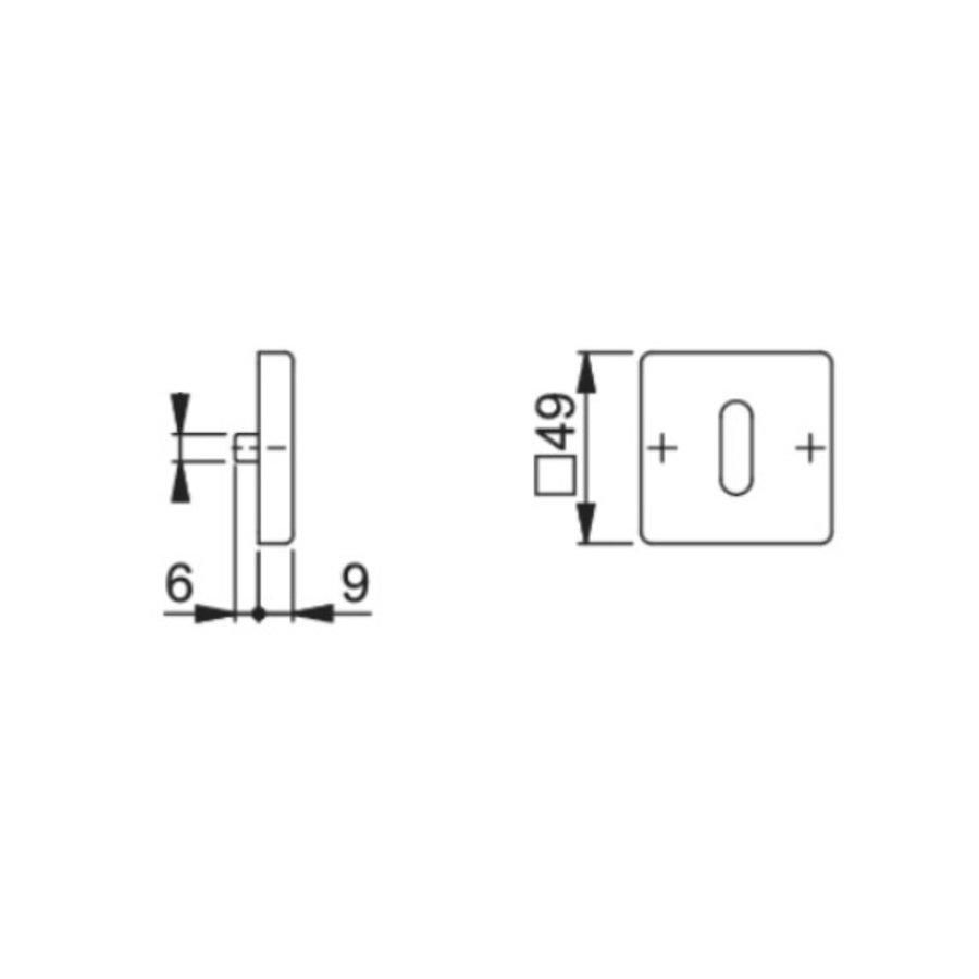 Hoppe Resista sleutelplaatjes vierkant zwart gesatineerd