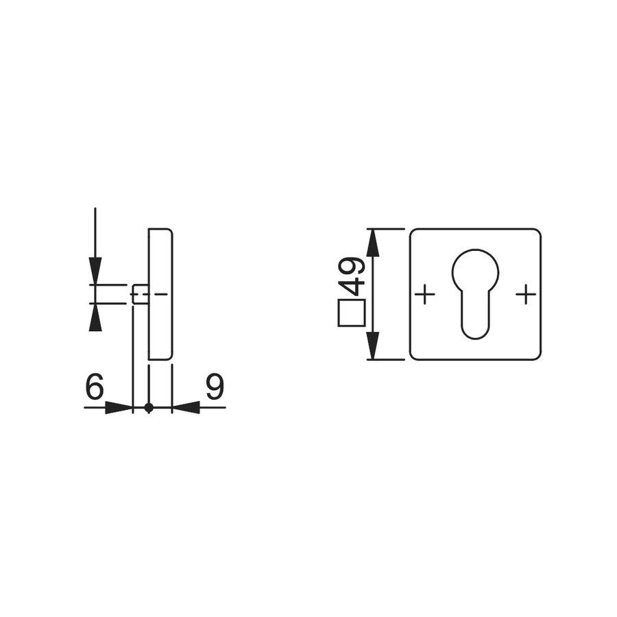 Hoppe Resista PC cilinderplaatjes vierkant zwart gesatineerd Ø52x8mm
