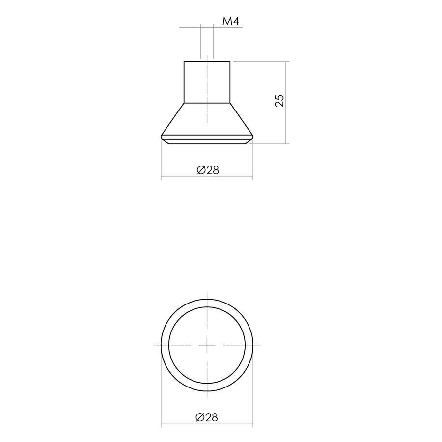 Intersteel Knop 28mm taps essenhout