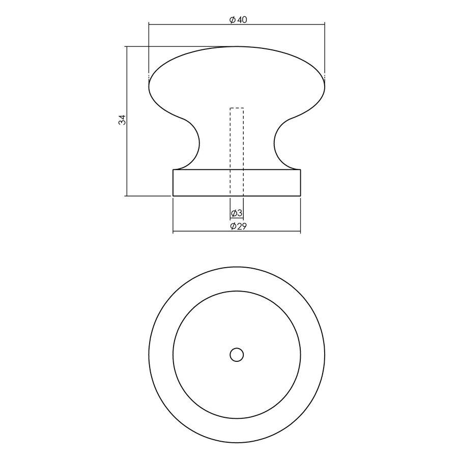 Intersteel Knop 40 mm grenenhout