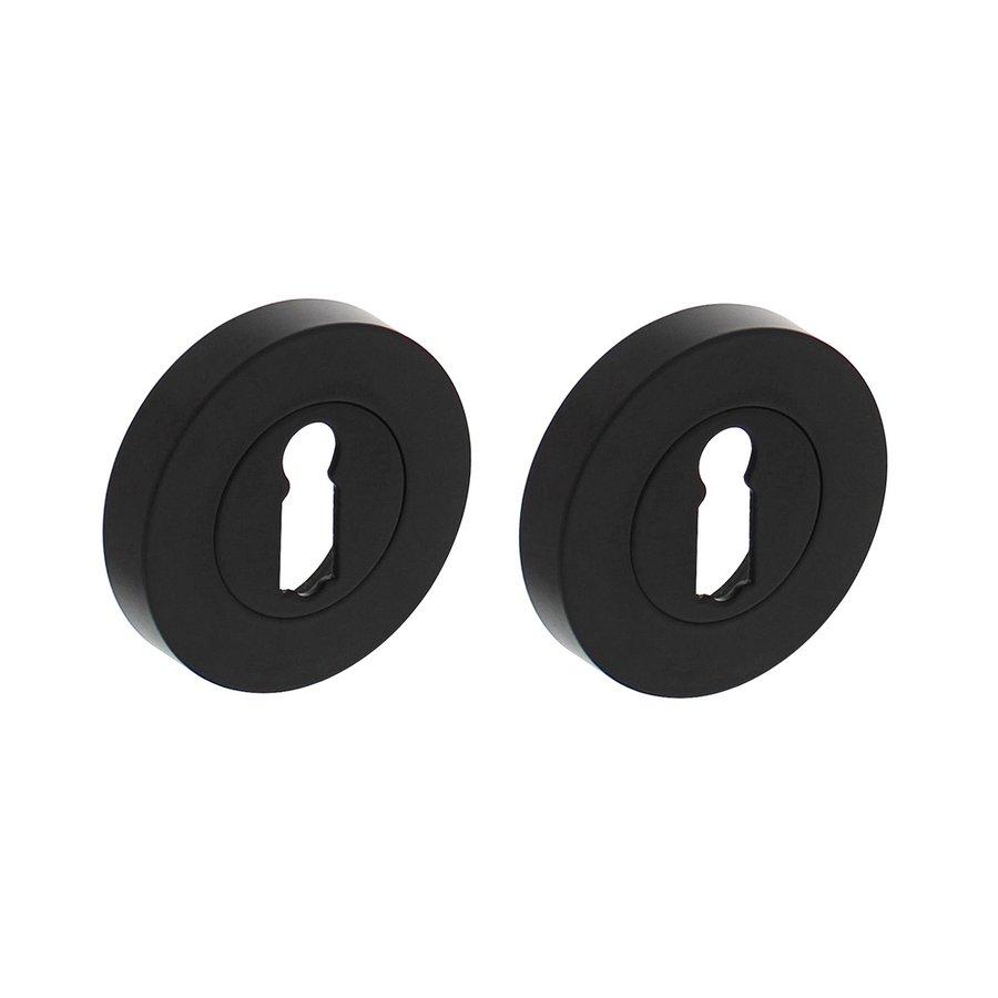 Paar sleutelplaatjes rond 52x10mm met 7mm nokken mat zwart