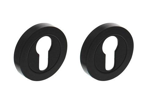 Paar cilinderplaatjesrond zwart