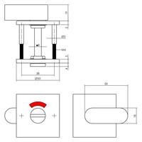 Intersteel Rozet toilet-/badkamersluiting vierkant rvs geborsteld