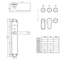 "Pair of door handles PHL ""L + L"" / P40 aged iron - black on blank plate"