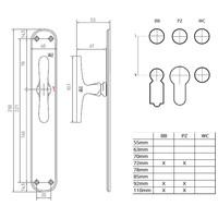 """Paar deurklinken PHL""""T+T"""" / P40 verouderd ijzer - zwart op blinde plaat"""