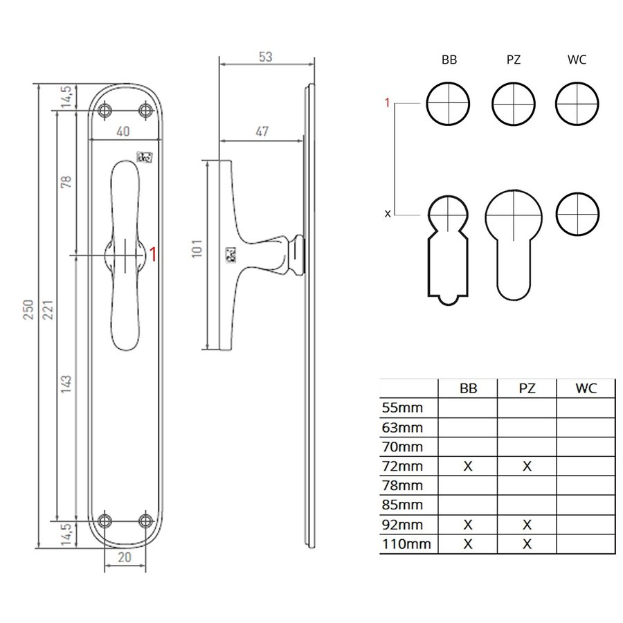 "Pair of door handles PHL ""T + T"" / P40 aged iron - black on blank plate"