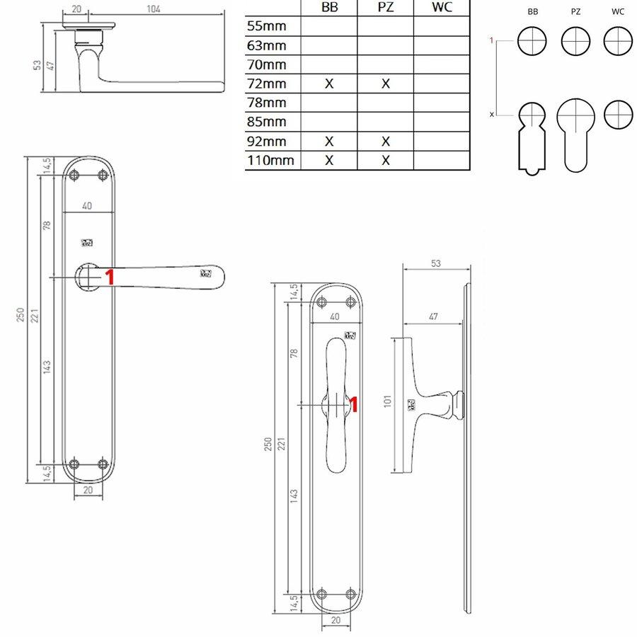 "Pair of door handles PHL ""T + L"" / P40 aged iron - black on blank plate"
