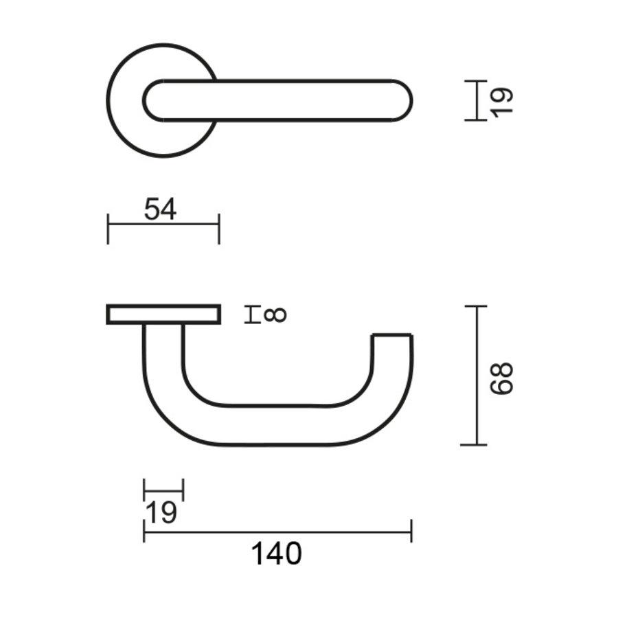 """rvs deurklinken """"U-shape"""" 19mm met cilinderplaatjes"""