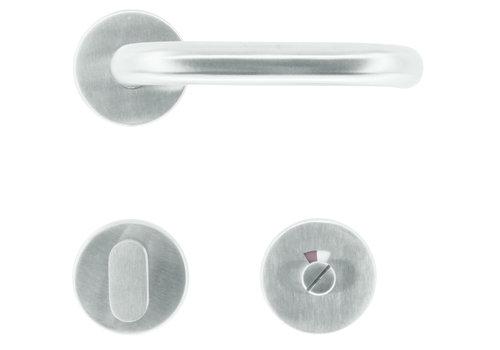 """rvs deurklinken """"U-shape"""" 19mm met WC garnituur"""