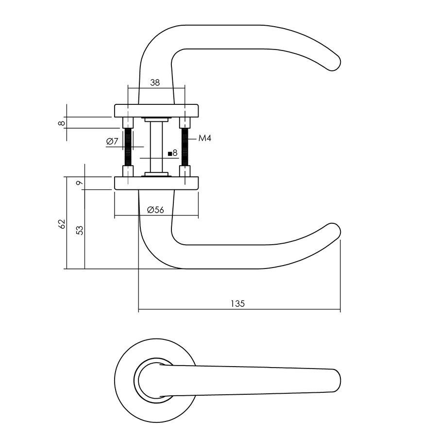 Intersteel Deurkruk Sabel op ronde rozet Ø55x8 mm aluminium zwart