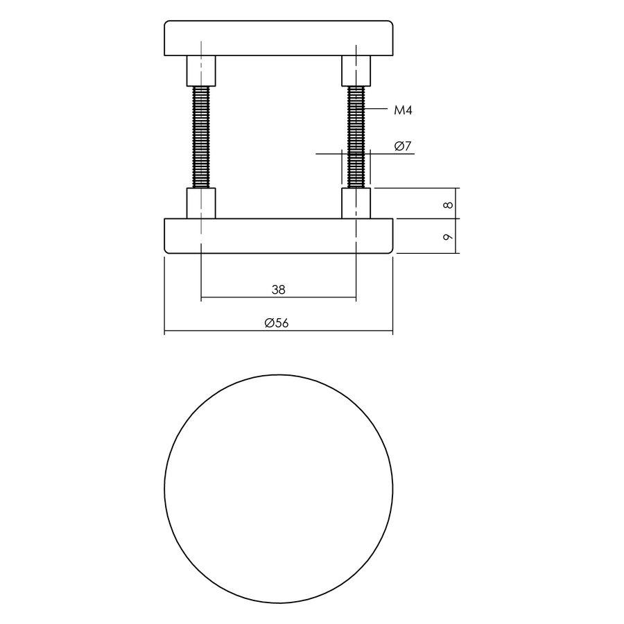 Intersteel Rozet blind ø55x8 mm aluminium zwart